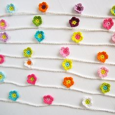 Mini Crochet Flower Garland by ColornCream on Etsy