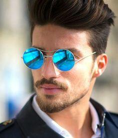 Macho Moda - Blog de Moda Masculina: ÓCULOS MASCULINO: 5 modelos que estão em alta pra 2017. óculos masculino redondo com Lente Espelhada.