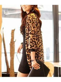 Long Style Leopard Cotton Blend Long Sleeve Cardigans – teeteecee - fashion in style Leopard Print Cardigan, Autumn, Clothes For Women, Cardigans, My Style, Long Sleeve, Sexy, Cotton, Mens Tops