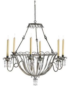 Somerset Rustic Iron Taper Candle Chandelier (Nice Farmhouse chandelier-- I won't be paying $262 for this though-- Farmhouse style is cozy AND thrifty!)