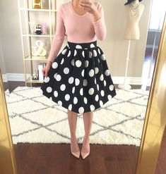 Polka Dot Flare Skirt and Pink Tee // Click the following link to see outfit details and photos:   http://www.stylishpetite.com/2015/02/heart-print-sweater.html