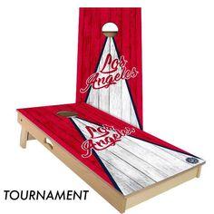 Los Angeles Red & White Triangle Baseball Cornhole Board Set