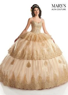 Marys Bridal Quinceanera Couture Dresses dress with Style - Fabric - Organza/Glitter Applique/Beading and Color - Champagne/Gold Champagne Quinceanera Dresses, Pretty Quinceanera Dresses, Pageant Dresses, 15 Dresses, Couture Dresses, Homecoming Dresses, Bridal Dresses, Sweet 16 Dresses Gold, Champagne Gold Color