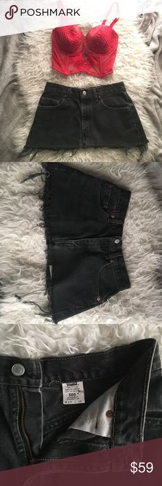 ✨Lowered✨Vintage Black Denim Levi Cutoff MiniSkirt Are you looking for the perfect outfit to get you back stage to meet the band? Or are you just looking for just the right skirt for that festival coming up? No matter what good times are ahead, this is the skirt to get you there! These are vintage 505s cut into a super mini skirt! These are even black denim to boot! From top to bottom, these are ten inches long, twenty one inches long at the bottom, and fifteen inches across laying flat…