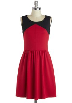Must Be Kismet Dress - Mid-length, Jersey, Woven, Red, Black, Cutout, Exposed zipper, Pockets, A-line, Sleeveless, Better, Scoop, Solid