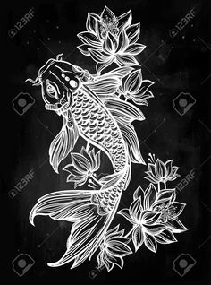 koi fish with lotus flower drawing - Google Search