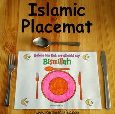 Islamic Placemat - Bismillah Free Worksheets Karima's Crafts