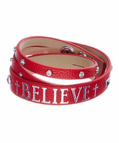 Look at this Red & Silvertone 'Believe' Wrap Bracelet on #zulily today!