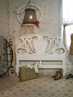 Painted Cottage Chic Shabby White Romantic by paintedcottages, $195.00  This would make a beatiful bench ❤