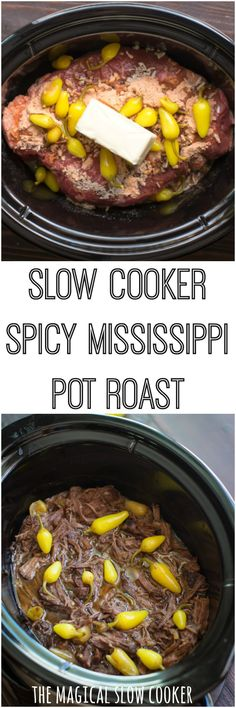 Do you like food with a spicy kick? Then you will LOVE this Slow Cooker Spicy Mississippi Pot Roast. This recipe has spicer peppers and spicy ranch! Slow Cooker Roast, Best Slow Cooker, Crock Pot Slow Cooker, Slow Cooker Recipes, Crockpot Recipes, Cooking Recipes, Slow Cooking, Crock Pots, Cooking Tips