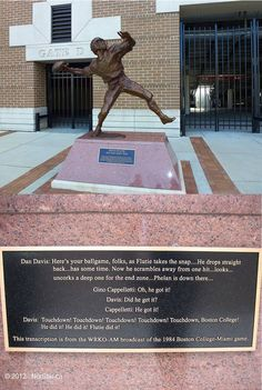Boston College Eagles - Doug Flutie statue and plaque on backside of the statue