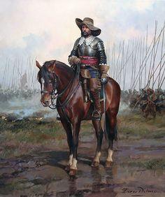 Oficial español de caballería, Guerra de los Treinta años 1616-1648
