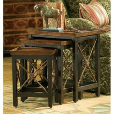 Hooker Furniture Seven Seas Nesting Tables with Medallion Motif Hooker Furniture, Solid Wood Furniture, Bedroom Furniture, Painted Nesting Tables, Master Bedroom Interior, Furniture Catalog, End Tables, Occasional Tables, Entryway Tables