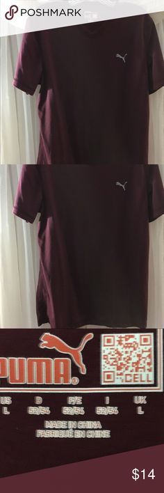 Men's Puma V-Neck⚽️ size L ,,FINAL Worn twice, my son didn't like the burgandy color.  🏀Perfect condition ⚽️ Puma Shirts Tees - Short Sleeve