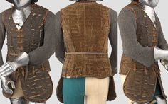 Italian brigandine (corazzina), 16th century, circa 1560, formed of rows of overlapping small rectangular tinned iron plates, attached to both a canvas lining and a velvet outer covering by symmetrically arranged rows of minute brass rivets, original pair of short tassets, opening fully at the front and closed by the original series of fabric-covered straps with angular brass buckles, fitted with a panel of riveted mail lining each of the internal lower edges.