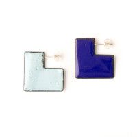 'Enfold' earrings - square Cobalt & Light Blue (double sided so that the same colour faces outwards) vitreous enamel, copper & sterling Silver Vitreous Enamel, Square Earrings, Cobalt, Usb Flash Drive, Light Blue, Copper, Faces, Victoria, Jewellery