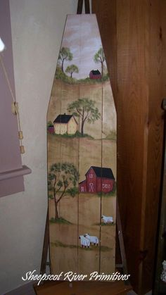 old ironing board and painted with a country scene with sheep, and saltbox houses. Painted Ironing Board, Antique Ironing Boards, Wood Ironing Boards, Painted Boards, Primitive Painting, Tole Painting, Painting On Wood, Painting Furniture, Country Crafts