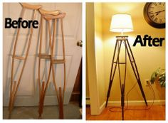 Loved how he turned crutches into a tripod lamp!