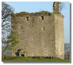 Barr Castle, Renfrewshire -  It was built by the Glen family but passed in the late 16th century to the Hamiltons of Ferguslie. A door lintel has a date of 1680 and the initials L.H./I.C. It was abandoned in the 18th century in favour of a new house.