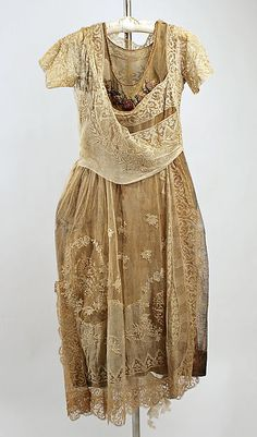 Evening ensemble, cotton and silk with metallic, Boué Soeurs designer, French, 1918-1920
