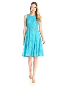 Sharagano Womens Sleeveless Belted Lace Dress Malibu Blue 8 >>> Check out this great product.