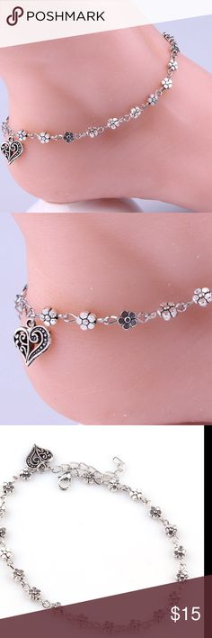NEWW... Boho Flower Heart pendant Ankles  Anklet Bracelets Heart pendant Silver Plated Jewelry