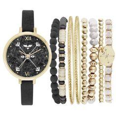 Jessica Carlyle Black Womens Arrow Boho Watch  Bangle Set ($25) ❤ liked on Polyvore featuring jewelry, watches, bracelets, black, boho jewellery, bohemian bangles, boho style jewelry, boho bangles and boho jewelry