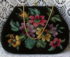 Beautiful & Colorful Floral Needlepoint Vintage Handbag