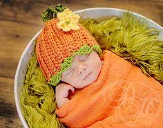 Pumpkin Hat, Baby Crochet Pumpkin Hat, Baby Halloween Hat, Baby Beanie Hat, Newborn Costume. $24.00, via Etsy.  LOVE THIS PICTURE IDEA