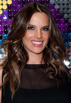 Alessandra Ambrosio Long Hairstyle: Waves with Center Part