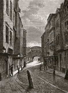 "Butcher's Row, Fleet St, 1800 in Walter Thornbury's ""A Walk In Long Forgotten London"" via Spitalfields Life Victorian London, Victorian Street, Vintage London, Victorian Era, London Architecture, Victorian Architecture, London History, British History, Old London"