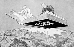 Winsor McCay (1867-1934) / A Good Book ... man and woman reading a giant book as it flies through the air like a magic carpet