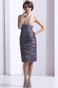 Graceful Sheath-Column V-Neck Knee Length Taffeta Gray Party Dress COXK13004 #cocomelody #dress