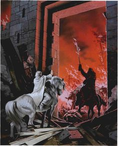 Angus McBride - Gandalf faces off against the Witch King of Angmar at the main gate of Minas Tirith.