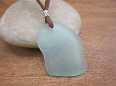 Ocean Waves Sea Glass Pendant Leather Cord by TreeOfLifeShop, $24.00