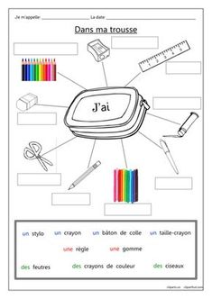 A gap-fill worksheet for practicing the names of pencil case items in French… French Basics, French For Beginners, French Flashcards, French Worksheets, Learning French For Kids, Ways Of Learning, Learning Italian, Learning Games, French Language Lessons