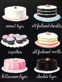 vintage bakery inspired cake cupcakes menu board matted print Large by Everyday is a Holiday
