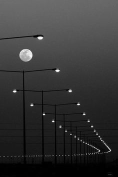 Streetlights and Moon Urban Landscape Photography The Full Moon Lunar La Lune A Visible Moon in The Night Sky Late Evening Time Black White Photo BW BW BW Monoch. Line Photography, Creative Photography, Street Photography, Landscape Photography, Nature Photography, Photography Timeline, Night Time Photography, Christmas Photography, Photography Basics