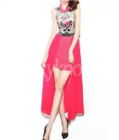 #Retro #PrintChiffonSkirt #PinkDresses #pinkdress #xykoo #retrodresses