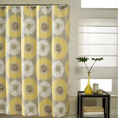 Bloom shower curtain will refresh your bathroom decor. The fresh pattern complements your bathroom with restful tones of taupe ground and yellow. Yellow And Grey Curtains, Yellow Shower Curtains, Bathroom Shower Curtains, Fabric Shower Curtains, Window Curtains, Bath Shower, Sewing Curtains, Gray Curtains, Drapery Fabric