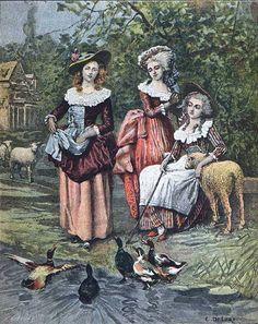 Marie Antoinette, the princesse de Lamballe and the duchesse de Polignac at the Queen's hamlet. source: unknown!