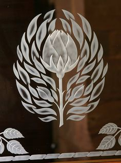 Etched glass, thistle, Perth church entrance way, Scotland
