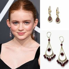 Sadie Sink, of the Netflix series Stranger Things, wore very popular dangle earrings with pink quartz and rubellites to the #GoldenGlobes this week. This made us think of all the similarly hued garnets we have in store and online for January birthdays. These would be suitable for a young teen - or her Mom. Affordable and really pretty. See our full collection by clicking here. #JanuaryBirthstone #GarnetEarrings #Garnet #FortunoffJewelry