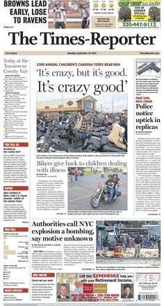 The Times-Reporter front page for Sept. 19, 2016. www.timesreporter.com