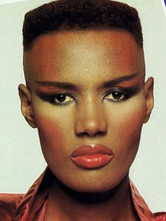 "Grace Jones. She was 18 when she moved back to New York, and signed on as a model with Wilhelmina Modeling agency. But, since her looks were not successfully received, she moved to Paris, France, where her androgynous, bold, dark-skinned appearance fostered her potential. She modeled for Yves Saint-Laurent, Claude Montana, Kenzo Takada, Helmut Newton, Guy Bourdin, Hans Feurer and Azzedine Alaïa, and she appeared on the covers of ""Elle"", ""Vogue"", and ""Der Stern""."