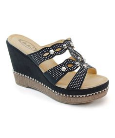 Another great find on #zulily! Black Spike Stud Platform Sandal by Italina #zulilyfinds