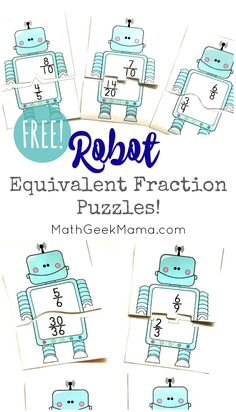Need a simple, yet fun way for kids to practice finding equivalent fractions? These super cute equivalent fractions puzzles are perfect! And FREE! Fraction Games, Fraction Activities, Free Math Worksheets, Math Activities, Math Games, Free Teaching Resources, Teaching Math, Teaching Tips, Finding Equivalent Fractions