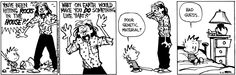 Calvin and Hobbes, Poor Mom - YOU'VE BEEN HITTING ROCKS IN THE HOUSE?! WHAT ON EARTH WOULD MAKE YOU DO SOMETHING LIKE THAT?! | Poor genetic material? Bad guess.