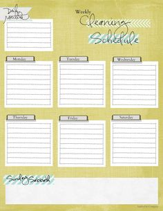 Free Weekly Cleaning Schedule Printable
