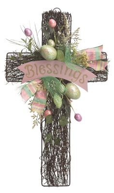 "Features: -Ready to hang on door, wall or entryway. -Twig wall cross with Easter embellishment. -Reads: ""Blessings"". Product Type: -Decorative Accents. Holiday Theme: -Yes. Seasonal Theme: -Yes."